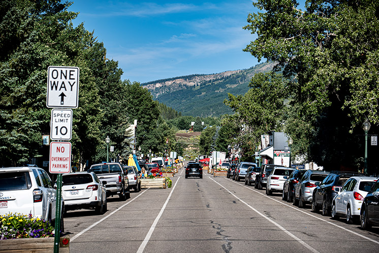 Parked cars in Crested Butte, Colorado