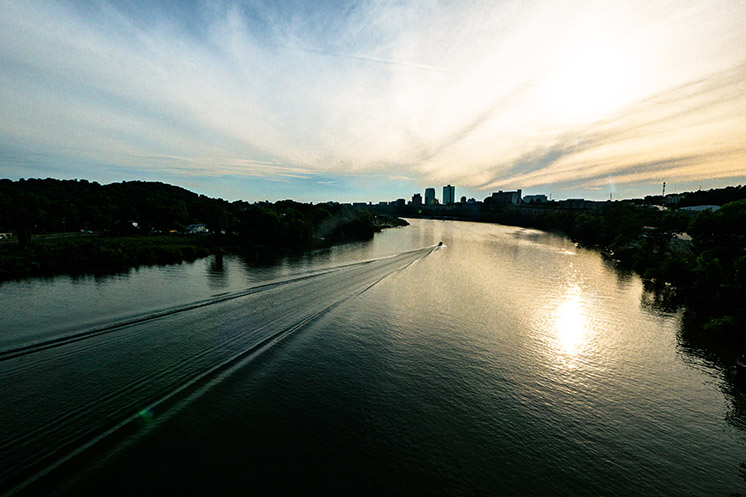 Knoxville skyline over Tennessee River